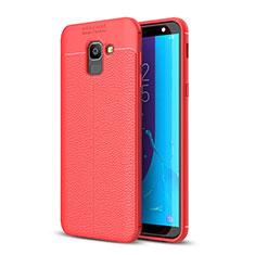 Silikon Hülle Handyhülle Gummi Schutzhülle Leder Tasche für Samsung Galaxy J6 (2018) J600F Rot