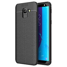 Silikon Hülle Handyhülle Gummi Schutzhülle Leder Tasche für Samsung Galaxy J6 (2018) J600F Schwarz