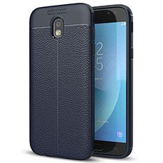 Silikon Hülle Handyhülle Gummi Schutzhülle Leder Tasche für Samsung Galaxy J7 (2017) Duos J730F Blau