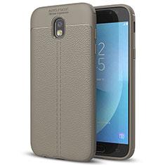 Silikon Hülle Handyhülle Gummi Schutzhülle Leder Tasche für Samsung Galaxy J7 (2017) Duos J730F Grau