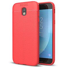 Silikon Hülle Handyhülle Gummi Schutzhülle Leder Tasche für Samsung Galaxy J7 (2017) Duos J730F Rot