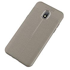 Silikon Hülle Handyhülle Gummi Schutzhülle Leder Tasche für Samsung Galaxy J7 (2018) J737 Grau