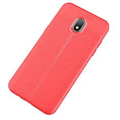 Silikon Hülle Handyhülle Gummi Schutzhülle Leder Tasche für Samsung Galaxy J7 (2018) J737 Rot