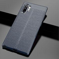 Silikon Hülle Handyhülle Gummi Schutzhülle Leder Tasche für Samsung Galaxy Note 10 Plus 5G Blau