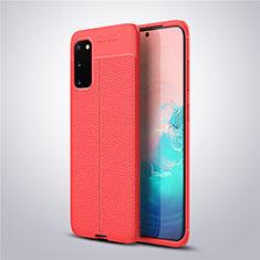 Silikon Hülle Handyhülle Gummi Schutzhülle Leder Tasche für Samsung Galaxy S20 5G Rot