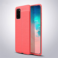 Silikon Hülle Handyhülle Gummi Schutzhülle Leder Tasche für Samsung Galaxy S20 Plus 5G Rot