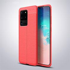 Silikon Hülle Handyhülle Gummi Schutzhülle Leder Tasche für Samsung Galaxy S20 Ultra 5G Rot