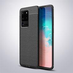 Silikon Hülle Handyhülle Gummi Schutzhülle Leder Tasche für Samsung Galaxy S20 Ultra 5G Schwarz