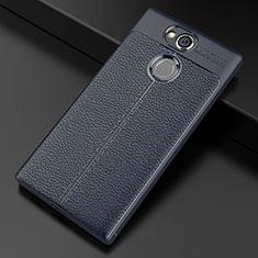 Silikon Hülle Handyhülle Gummi Schutzhülle Leder Tasche für Sony Xperia XA2 Blau