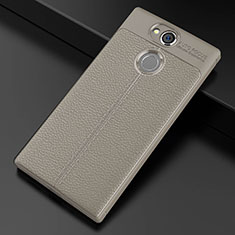 Silikon Hülle Handyhülle Gummi Schutzhülle Leder Tasche für Sony Xperia XA2 Grau