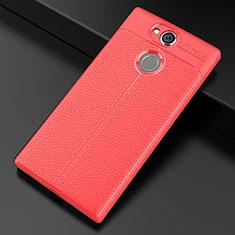 Silikon Hülle Handyhülle Gummi Schutzhülle Leder Tasche für Sony Xperia XA2 Plus Rot