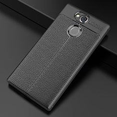 Silikon Hülle Handyhülle Gummi Schutzhülle Leder Tasche für Sony Xperia XA2 Plus Schwarz