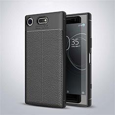 Silikon Hülle Handyhülle Gummi Schutzhülle Leder Tasche für Sony Xperia XZ1 Compact Schwarz