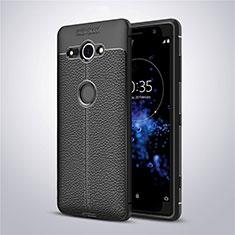 Silikon Hülle Handyhülle Gummi Schutzhülle Leder Tasche für Sony Xperia XZ2 Compact Schwarz