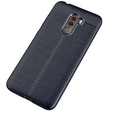 Silikon Hülle Handyhülle Gummi Schutzhülle Leder Tasche für Xiaomi Pocophone F1 Blau
