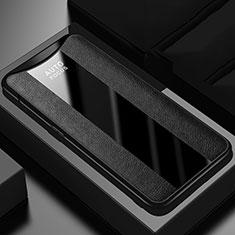 Silikon Hülle Handyhülle Gummi Schutzhülle Leder Tasche H01 für Oppo Find X Schwarz