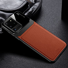 Silikon Hülle Handyhülle Gummi Schutzhülle Leder Tasche H01 für Samsung Galaxy S20 Ultra 5G Braun