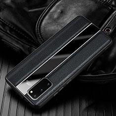 Silikon Hülle Handyhülle Gummi Schutzhülle Leder Tasche H02 für Samsung Galaxy S20 5G Schwarz