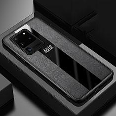 Silikon Hülle Handyhülle Gummi Schutzhülle Leder Tasche H02 für Samsung Galaxy S20 Ultra 5G Schwarz
