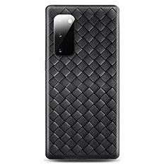 Silikon Hülle Handyhülle Gummi Schutzhülle Leder Tasche H03 für Samsung Galaxy S20 5G Schwarz