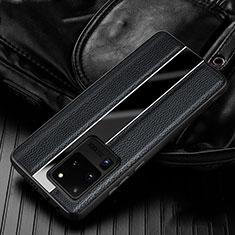 Silikon Hülle Handyhülle Gummi Schutzhülle Leder Tasche H04 für Samsung Galaxy S20 Ultra 5G Schwarz