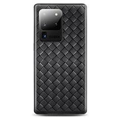 Silikon Hülle Handyhülle Gummi Schutzhülle Leder Tasche H05 für Samsung Galaxy S20 Ultra 5G Schwarz