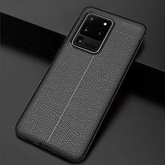 Silikon Hülle Handyhülle Gummi Schutzhülle Leder Tasche H06 für Samsung Galaxy S20 Ultra 5G Schwarz