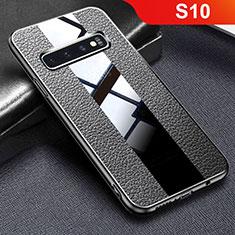 Silikon Hülle Handyhülle Gummi Schutzhülle Leder Tasche L01 für Samsung Galaxy S10 Schwarz