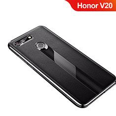 Silikon Hülle Handyhülle Gummi Schutzhülle Leder Tasche M01 für Huawei Honor V20 Schwarz