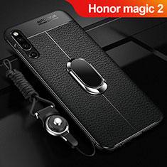 Silikon Hülle Handyhülle Gummi Schutzhülle Leder Tasche mit Magnetisch Fingerring Ständer A01 für Huawei Honor Magic 2 Schwarz