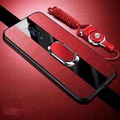 Silikon Hülle Handyhülle Gummi Schutzhülle Leder Tasche mit Magnetisch Fingerring Ständer A01 für Oppo Realme X Rot