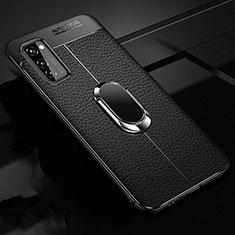 Silikon Hülle Handyhülle Gummi Schutzhülle Leder Tasche mit Magnetisch Fingerring Ständer für Huawei Honor View 30 5G Schwarz