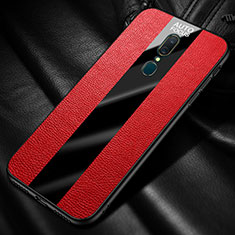Silikon Hülle Handyhülle Gummi Schutzhülle Leder Tasche mit Magnetisch Fingerring Ständer für Oppo A9 Rot