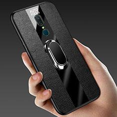 Silikon Hülle Handyhülle Gummi Schutzhülle Leder Tasche mit Magnetisch Fingerring Ständer für Oppo A9 Schwarz