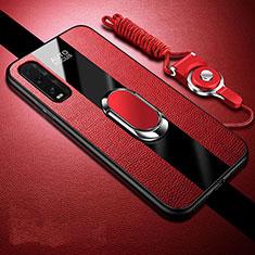 Silikon Hülle Handyhülle Gummi Schutzhülle Leder Tasche mit Magnetisch Fingerring Ständer für Oppo Find X2 Rot