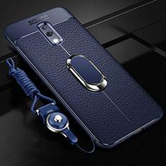 Silikon Hülle Handyhülle Gummi Schutzhülle Leder Tasche mit Magnetisch Fingerring Ständer für Oppo K3 Blau