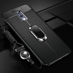 Silikon Hülle Handyhülle Gummi Schutzhülle Leder Tasche mit Magnetisch Fingerring Ständer für Oppo K3 Schwarz