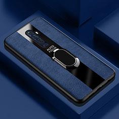 Silikon Hülle Handyhülle Gummi Schutzhülle Leder Tasche mit Magnetisch Fingerring Ständer für Oppo Reno2 Z Blau