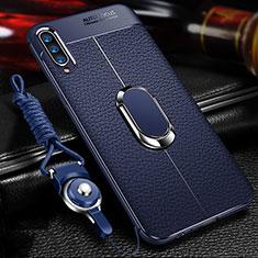Silikon Hülle Handyhülle Gummi Schutzhülle Leder Tasche mit Magnetisch Fingerring Ständer für Samsung Galaxy A70 Blau
