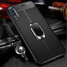 Silikon Hülle Handyhülle Gummi Schutzhülle Leder Tasche mit Magnetisch Fingerring Ständer für Samsung Galaxy A70 Schwarz
