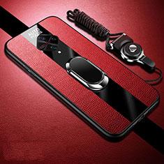 Silikon Hülle Handyhülle Gummi Schutzhülle Leder Tasche mit Magnetisch Fingerring Ständer für Vivo X50 Lite Rot