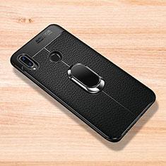 Silikon Hülle Handyhülle Gummi Schutzhülle Leder Tasche mit Magnetisch Fingerring Ständer für Xiaomi Redmi Note 7 Pro Schwarz