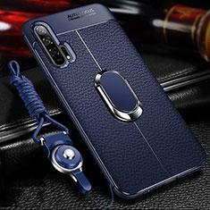 Silikon Hülle Handyhülle Gummi Schutzhülle Leder Tasche mit Magnetisch Fingerring Ständer S01 für Huawei Honor 20 Pro Blau