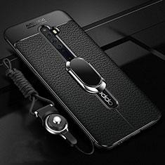 Silikon Hülle Handyhülle Gummi Schutzhülle Leder Tasche mit Magnetisch Fingerring Ständer S01 für Oppo Reno2 Z Schwarz