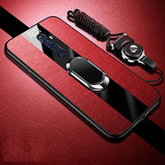 Silikon Hülle Handyhülle Gummi Schutzhülle Leder Tasche mit Magnetisch Fingerring Ständer S02 für Oppo Reno2 Z Rot