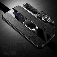 Silikon Hülle Handyhülle Gummi Schutzhülle Leder Tasche mit Magnetisch Fingerring Ständer S02 für Oppo Reno2 Z Schwarz