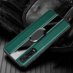 Silikon Hülle Handyhülle Gummi Schutzhülle Leder Tasche mit Magnetisch Fingerring Ständer S03 für Oppo Find X2 Pro Grün