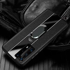 Silikon Hülle Handyhülle Gummi Schutzhülle Leder Tasche mit Magnetisch Fingerring Ständer S04 für Huawei P40 Pro+ Plus Schwarz