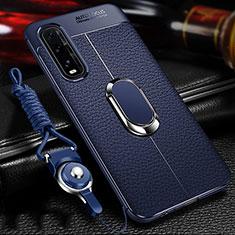 Silikon Hülle Handyhülle Gummi Schutzhülle Leder Tasche mit Magnetisch Fingerring Ständer S04 für Oppo Find X2 Blau