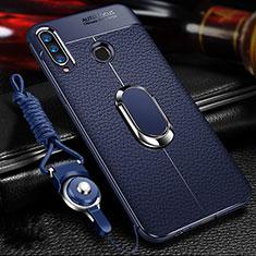 Silikon Hülle Handyhülle Gummi Schutzhülle Leder Tasche mit Magnetisch Fingerring Ständer T01 für Huawei Honor 20 Lite Blau
